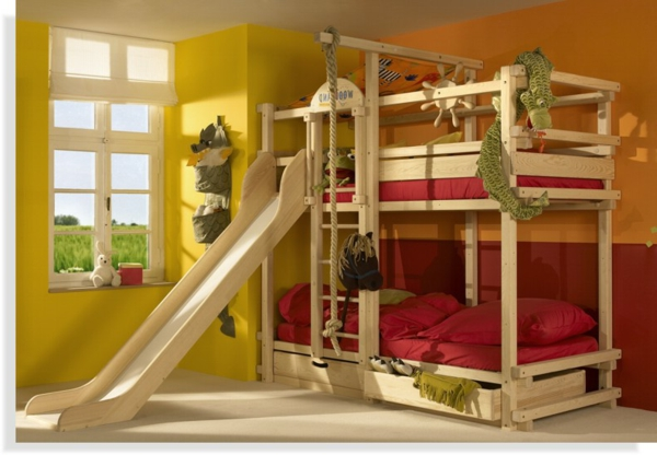 hochbett mit rutsche spa im kinderzimmer. Black Bedroom Furniture Sets. Home Design Ideas