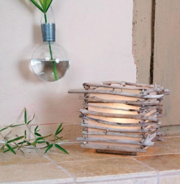 deko lampe mit treibholz elementen