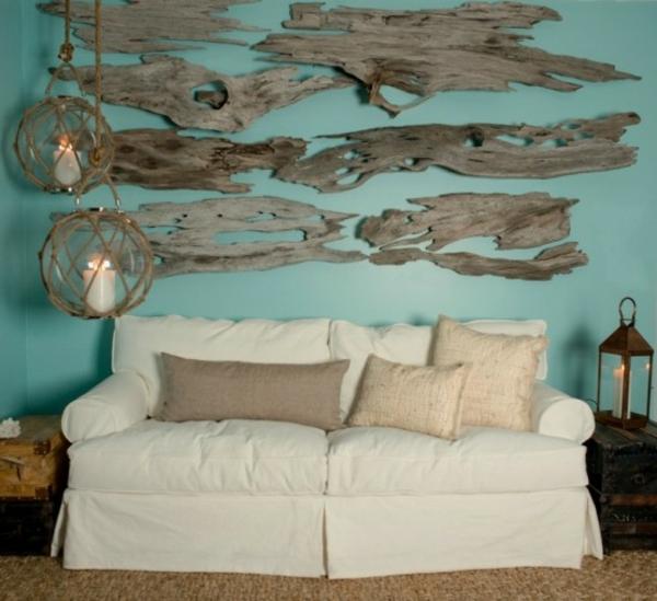 wohnzimmer dekoration mit treibholz teilen
