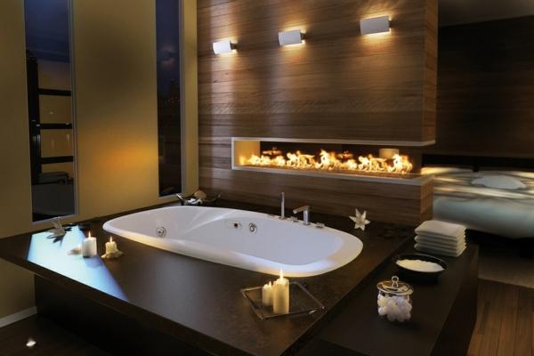 moderne badeeinrichtung - luxus badewanne und kerzen