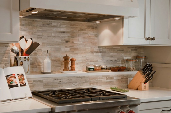 Kitchen Tile Backsplash Beige Black