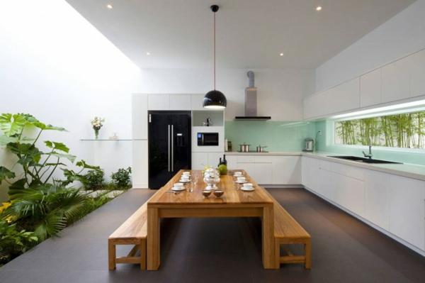 luxus küche mit vielen pflanzen