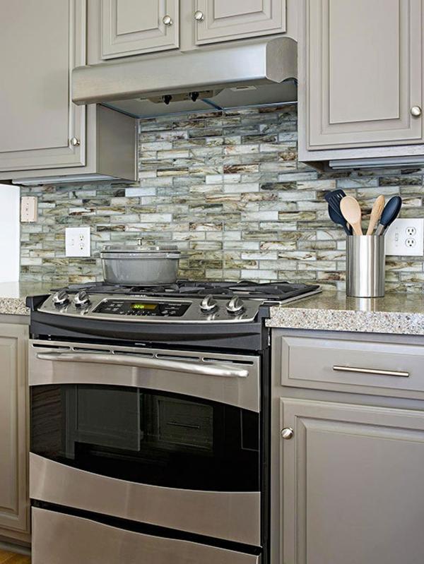 küchenspiegel aus stein - silbere farbe