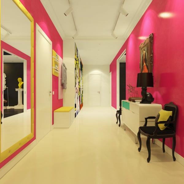 flur mit wei und rosa gestalten grelle nuance - Kreative Ideen Fr Flur
