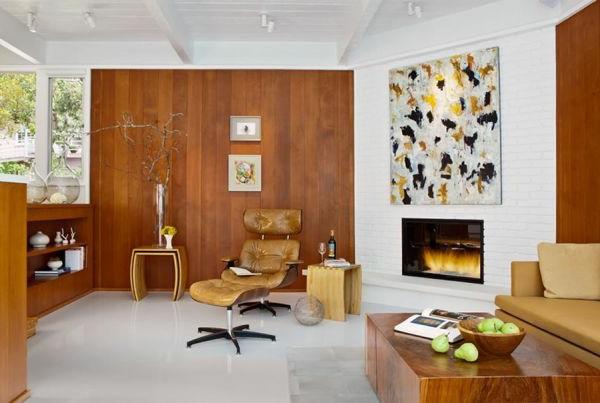 Wohnzimmer holzwand traumhaus design