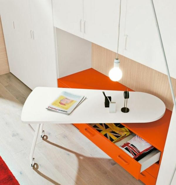 bewegbarer schreibtisch für kinder orange und weiß