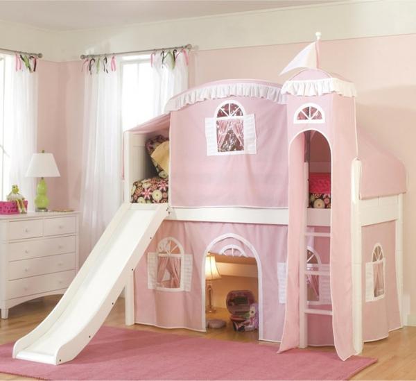 mädchenzimmer mit einem hochbett design mit rutsche
