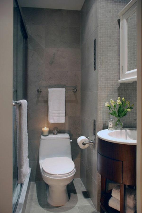 badeeinrichtung ideen - wand in grau und weiße toilette