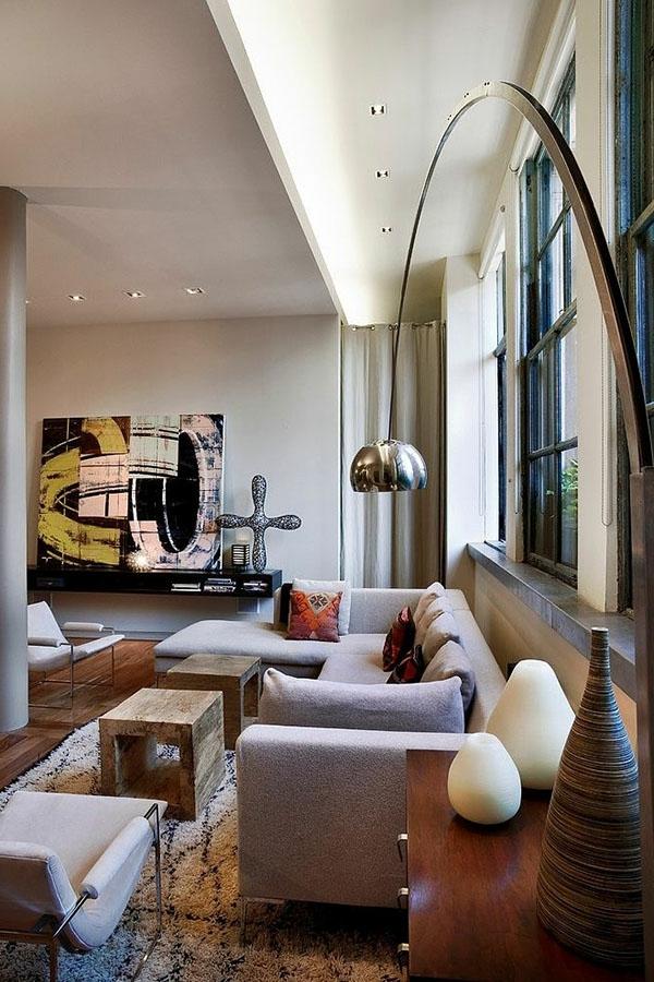 Designer Wohnzimmer Mit Schlichter Beleuchtung Und Schönen Möbeln