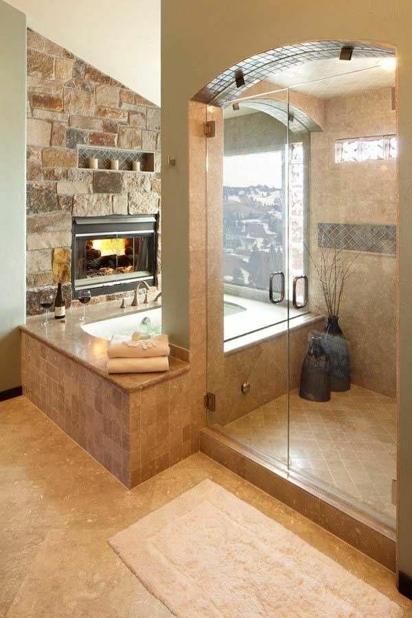 ideen für badzimmer gestaltung - feurerstelle mit einer gläsernen duschkabinenwand