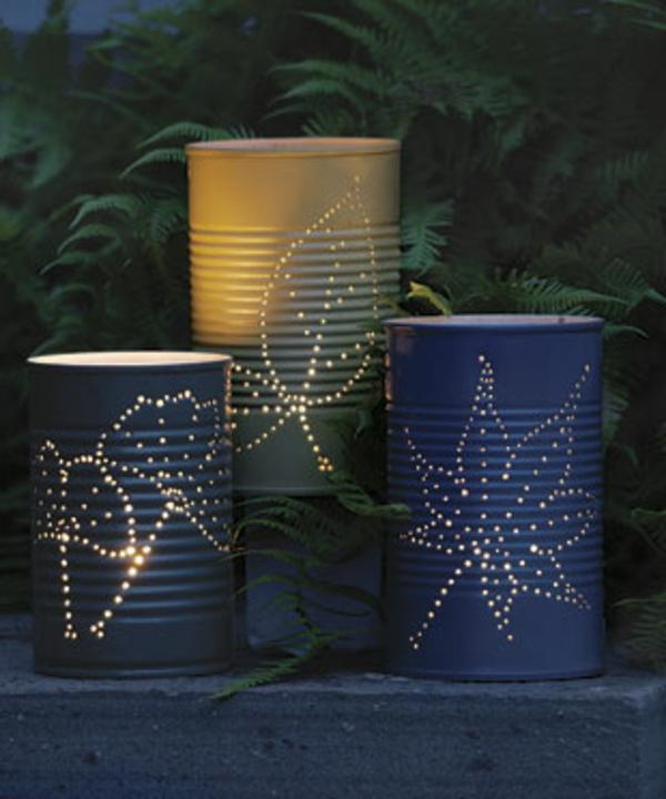 designer lampen selber machen - in der nacht - draußen - viele grüne  pflanzen