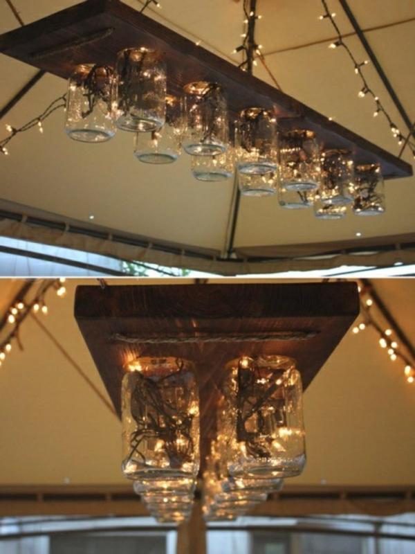 hölzernes brett und gläserne becher - deckenlampe selber machen