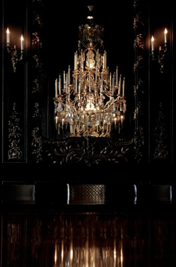 flur modern und elegant ausstatten - großartiger kronleuchter und wände in schwarz
