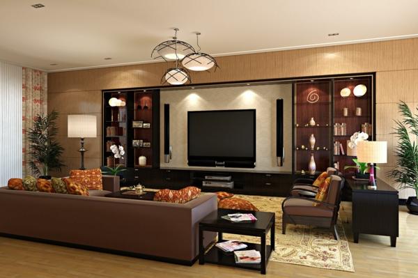 wohnzimmer design mit elegantem braunen ledersofa