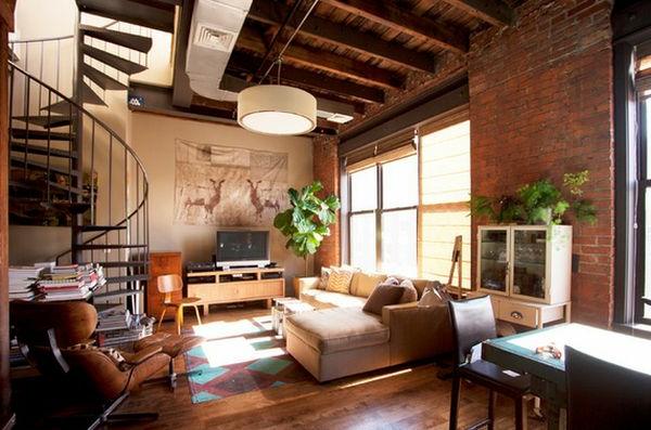Spiraltreppen im wunderschönen Wohnzimmer