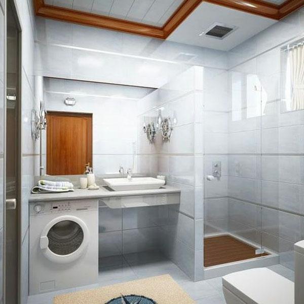 badezimmer gestaltung mit weißen badefliesen und tür aus holz
