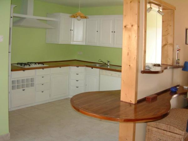 farbgestaltung für die küche - weiße schränke grüne wand hölzerne bestandteile