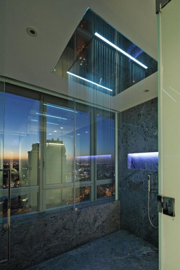 ... extravagant ausstatten gläserne wände marmor moderne dusche