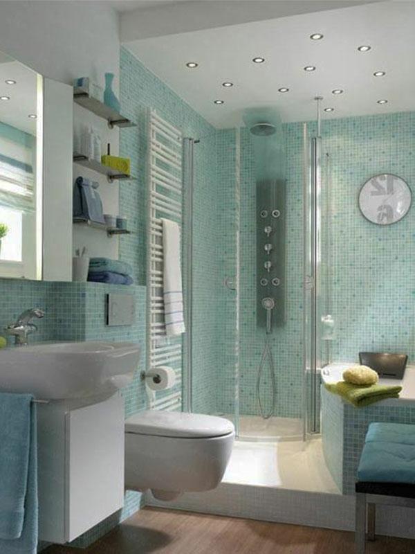badezimmer mit einer duschkabine ausstatten