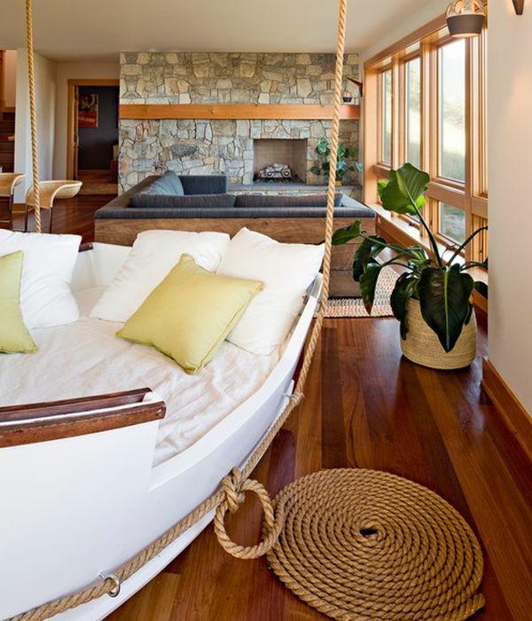 Luxus wohnzimmer h ngendes bett wie ein schiff ausseheh steinwand kamin - Bett im wohnzimmer ideen ...