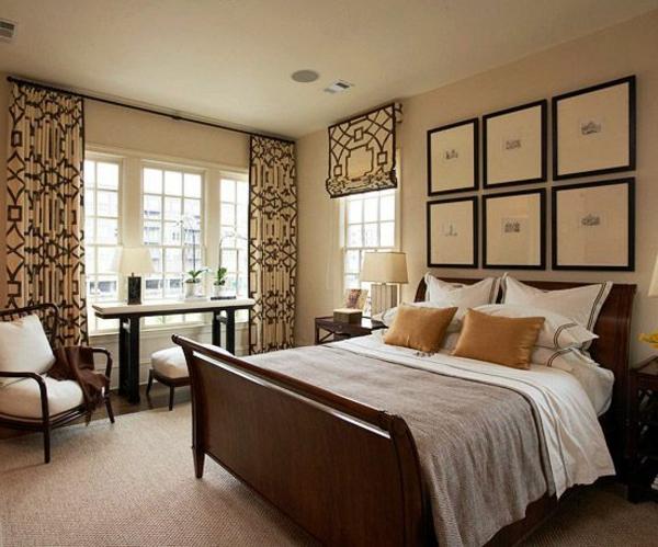Schöne dekorative Vorhänge im luxus Schlafzimmer