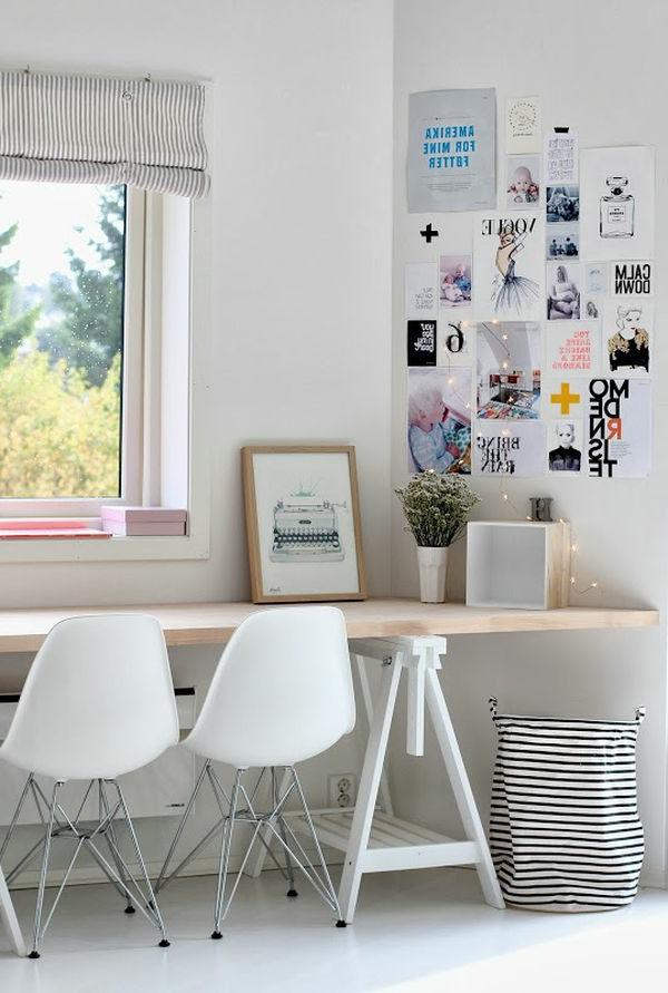 Fenster mit enormer Größe im Arbeitszimmer im weißen Farbton
