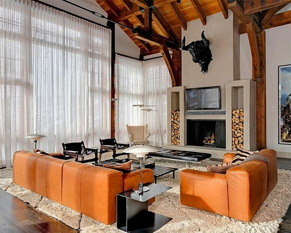 ledersofas in orange für ein modernes und elegantes wohnzimmer