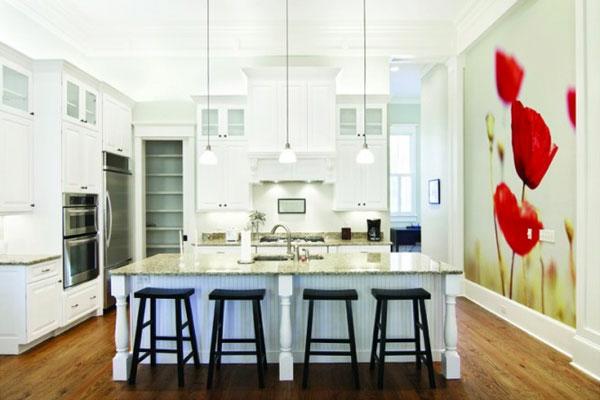 tulpen an die wand aufmalen für akzent in der küche - weiße hauptfarbe