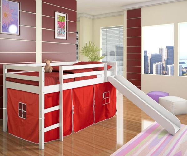 hochbett design mit rutsche - kinderzimmer interessant gestalten