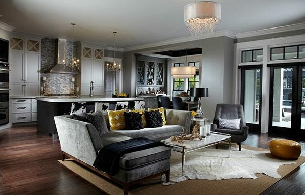 nesttisch und dunkle farbe für eine elegante wohnzimmer gestaltung