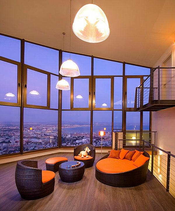 wände aus glas im wohnzimmer