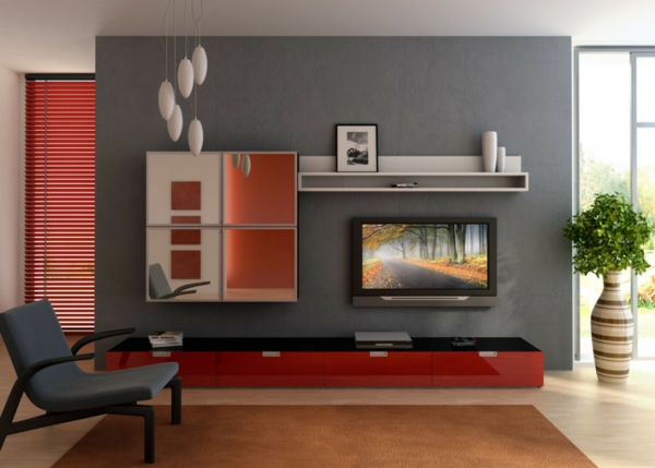 grau grünes wohnzimmer:graue wände fürs wohnzimmer fernseher grauer stuhl grüne pflanze