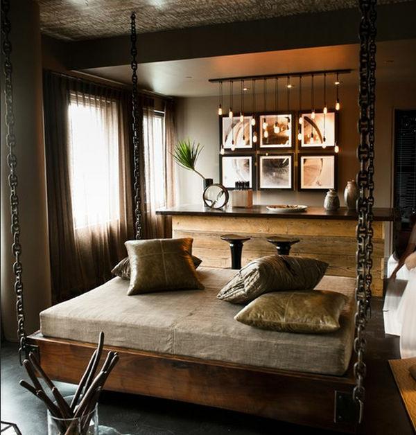 von der decke hängendes bett im eleganten schlafzimmer
