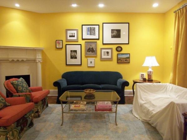 wohnzimmer modern gestalten - gelbe wandfarbe