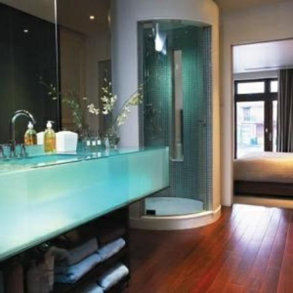 türkis farbe für badezimmer gestaltung - duschkabine