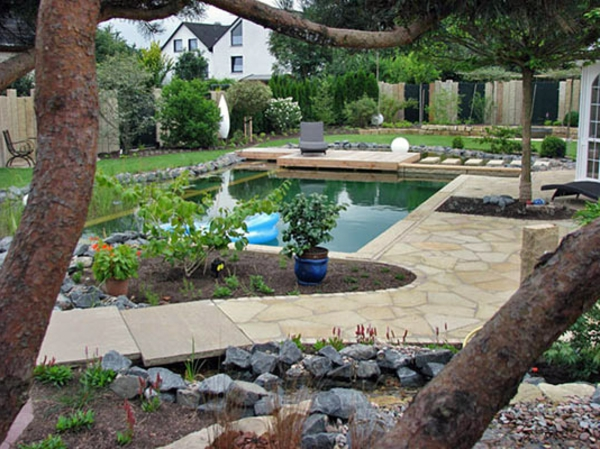 modernes gartendesign mit einem see und vielen grünen pflanzen