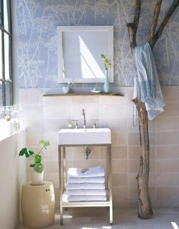 hänger für badetücher im badezimmer - aus treibholz gefertigt