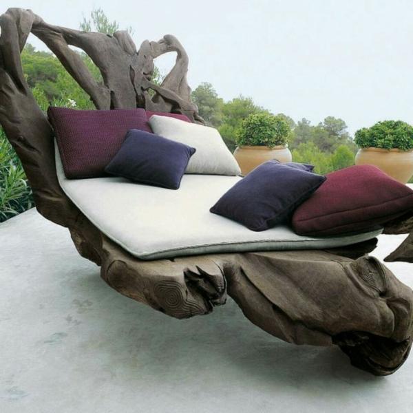 treibholz liegestuhl - naturfreungliche umgebung und kontrastierenden dekokissen