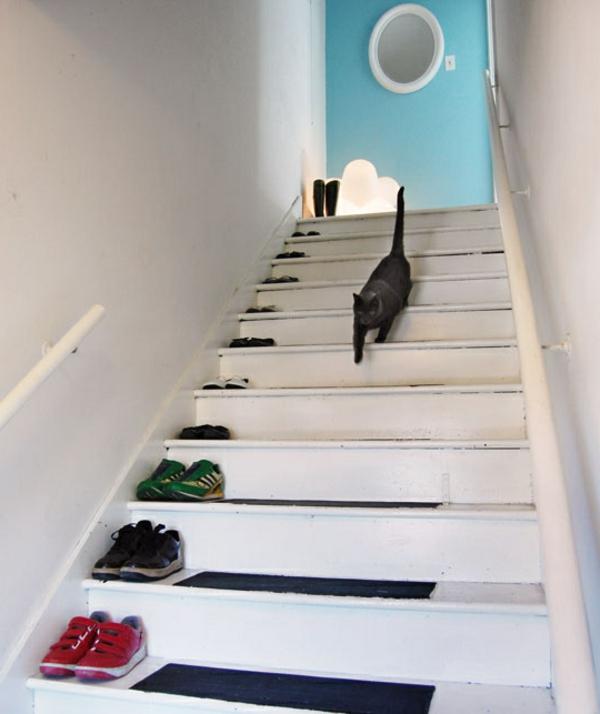schuhaufbewahrung ideen - schuhe auf die treppen legen