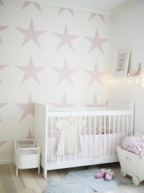 malerschablone-sterne für wandgestaltung im babyzimmer