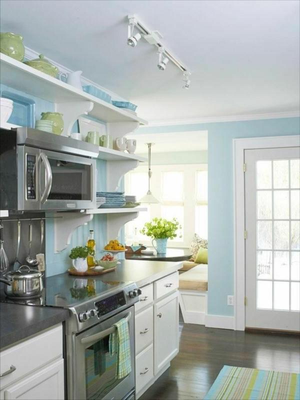 Blaue Und Weiße Farbe Für Die Küche Schlichtes Interieur