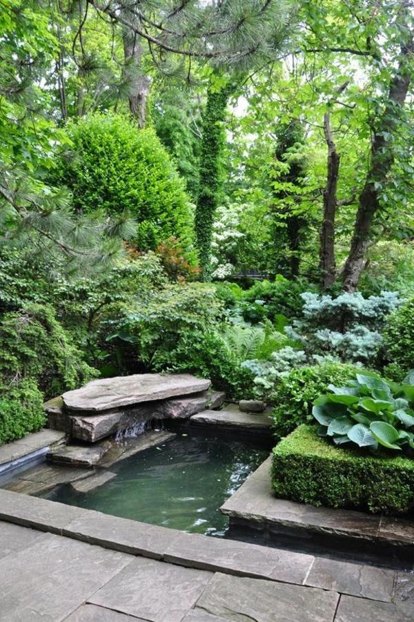 teich und grüne pflanzen - idee für gartengestaltung