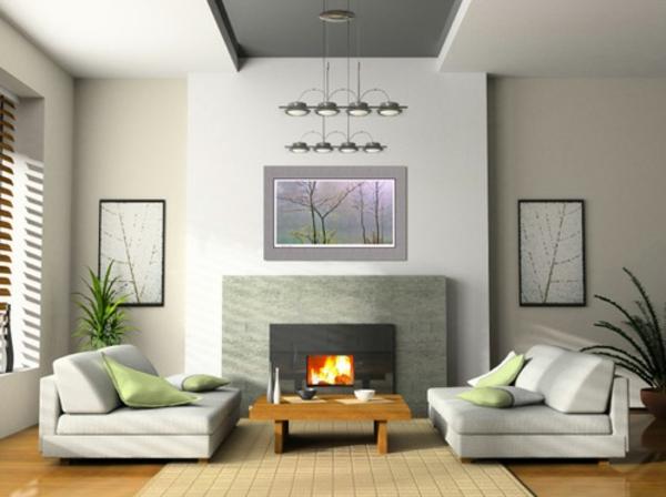 kamin wohnzimmer graue wandgestaltung kronleuchter