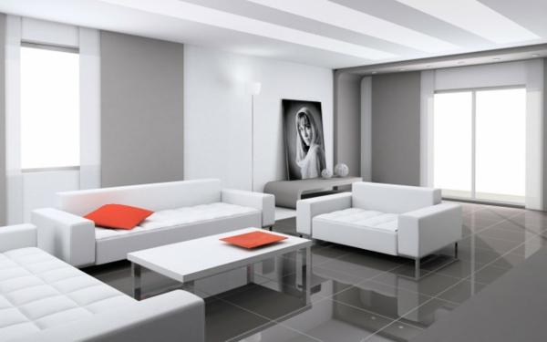 wohnzimmer gestalten - weiße möbelstücke und rote akzente