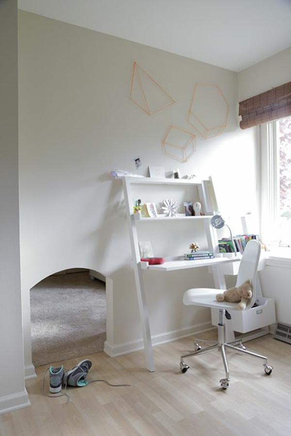 kinder arbeitszimmer modern mit geometrischen figuren an der wand ausstatten