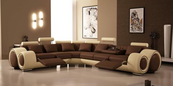 Wohnzimmer Mit Einem Riesigem Sofa Aus Leder