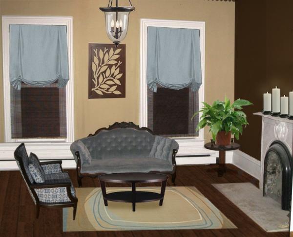 Dekopflanze Kamin Sofa Mit Sessel Gemälde Gardinen