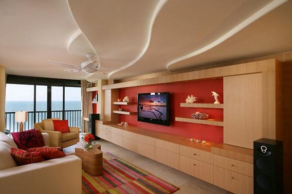 gute wohnidee - wohnzimmer mit roten akzenten
