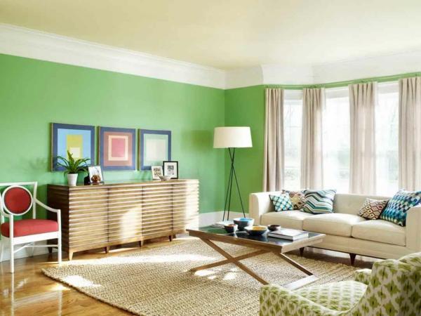 Elegant Wohnzimmer Richtig Schön Einrichten   Gemälde An Der Grünen Wand Wohnzimmer  Streichen ...