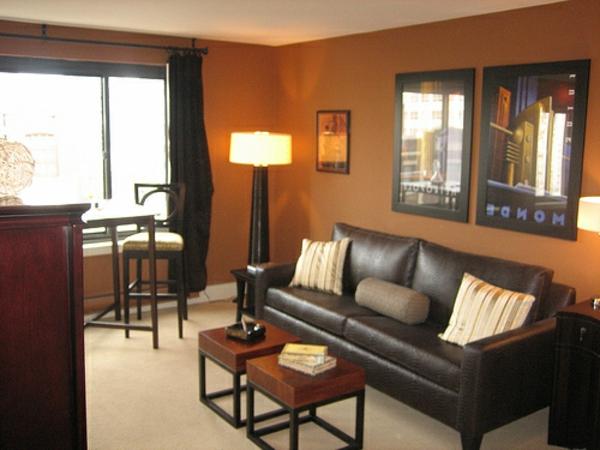 Dunkel Orange Farbe Für Wände Im Kleinen Luxus Wohnzimmer